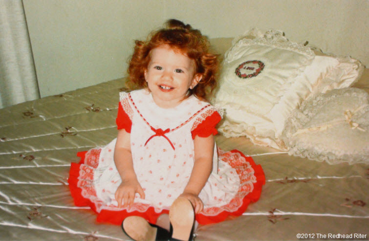 redheaded niece brittany red puffy dress satin bed
