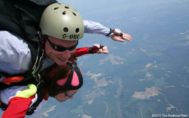 redheaded niece brittany skydiving happy