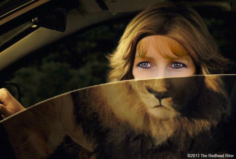 lion woman driving car determination