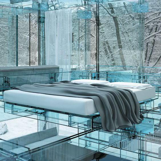Glass House Glass Bed Santambrogio