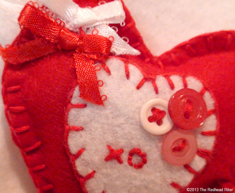 felt embroidery heart buttons bows red white