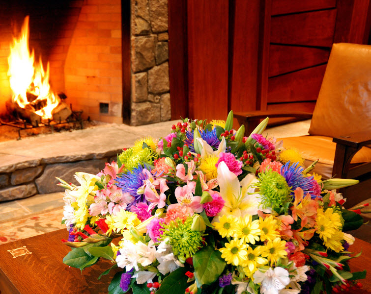 fireplace flowers warm inspiration