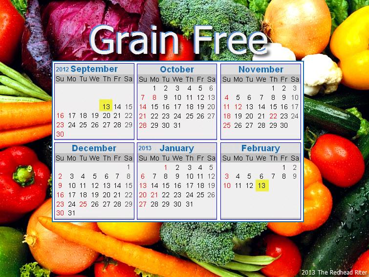 grain free 6 month calendar