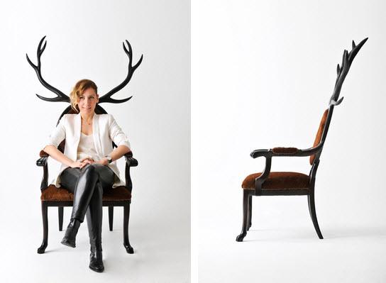 Artist Merve Kahraman antlers chair 2