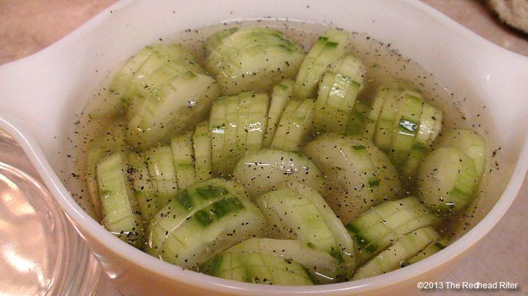 cucumbers peeled add vinegar