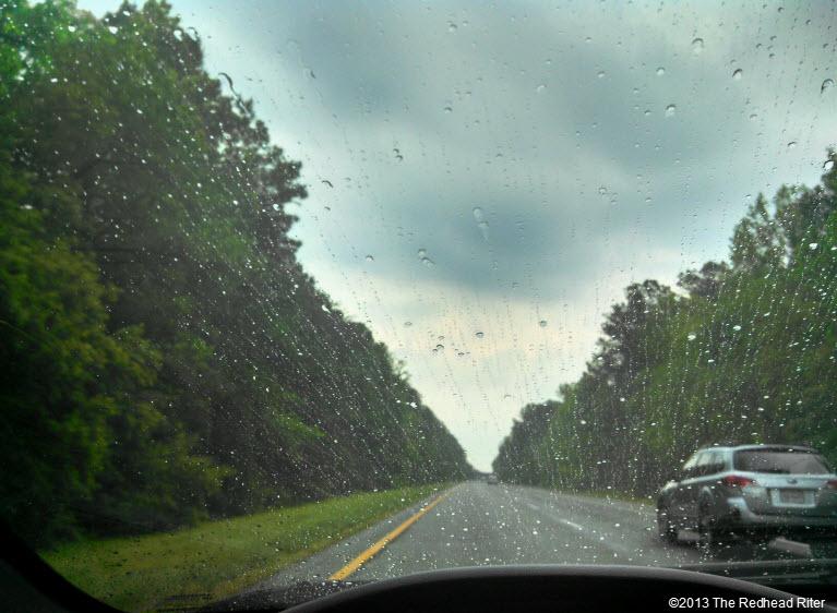 interstate hair cut raining windshield