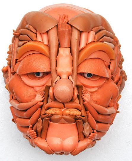 doll parts man face sculpture 2
