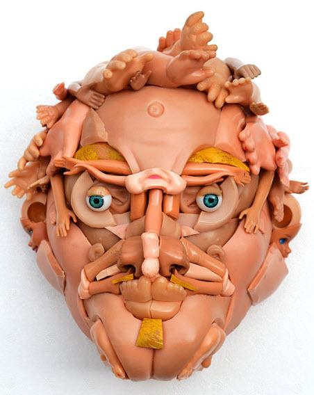 doll parts man face sculpture 3