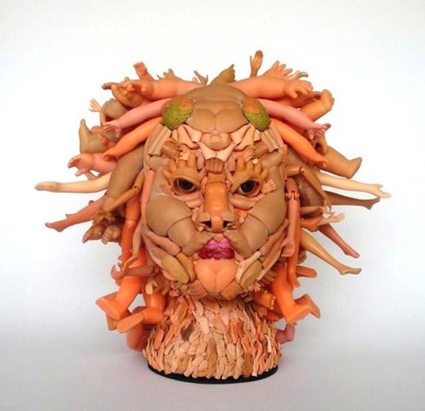 medusa doll parts sculpture