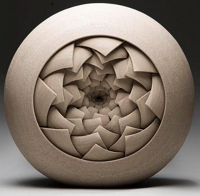 Ceramic Sculptures, Matthew Chambers, Bud lll - Fragmentation series 2009. 32cm H