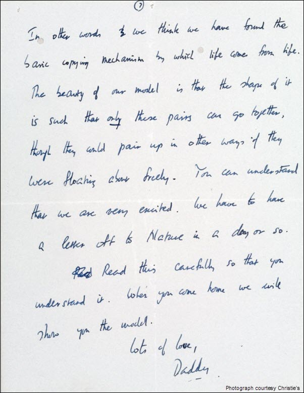 Francis Crick DNA Discovery Letter pg 7