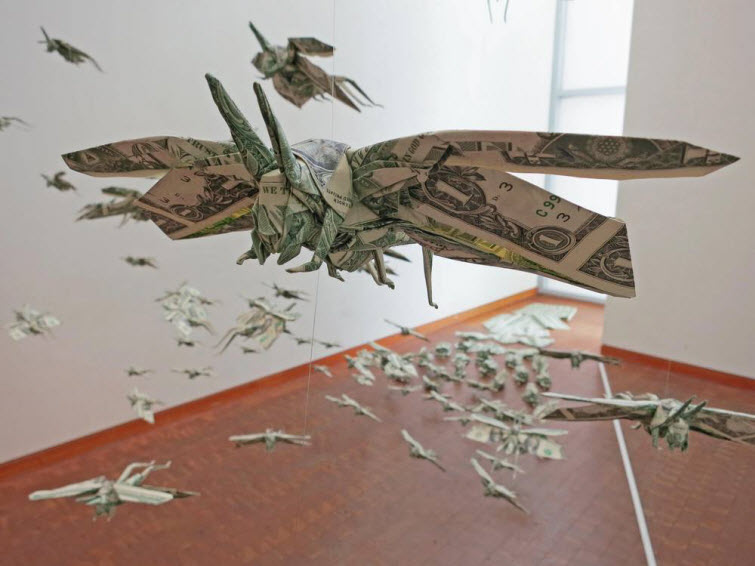origami artist mobano origami money locusts