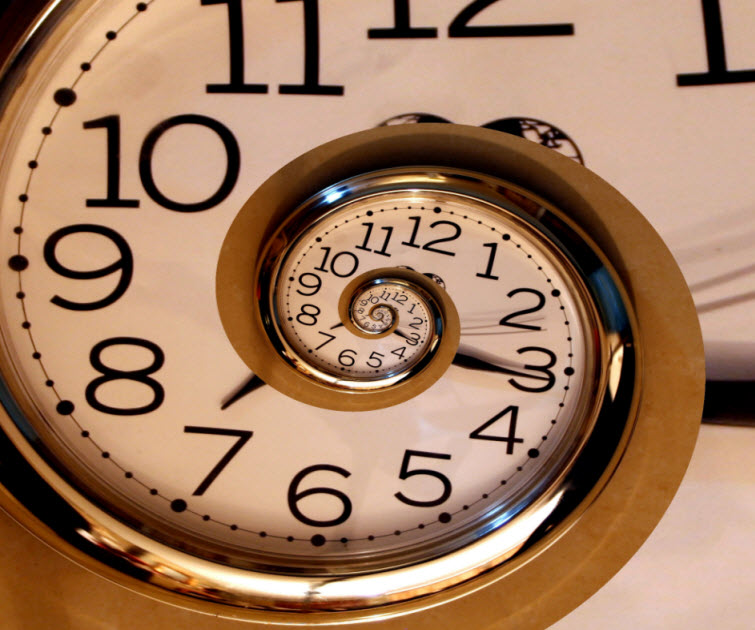 swirling clock endless time