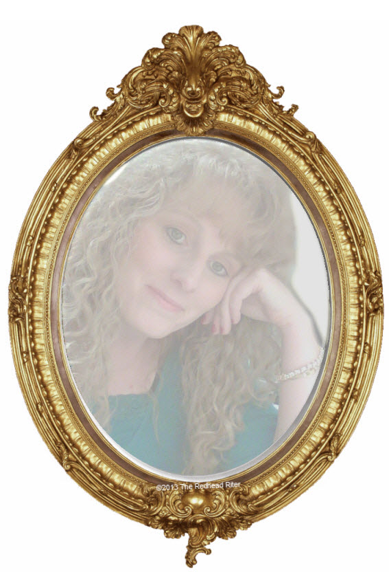 the redhead riter in the antique gold mirror