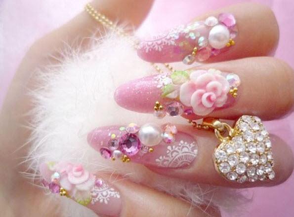 fingernail humor art 3d flower pearl pink fuzzy in hand