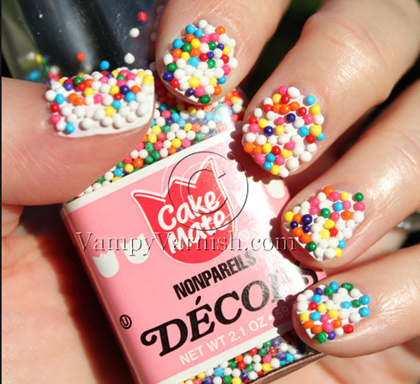 fingernail humor art candy sprinkles deco balls