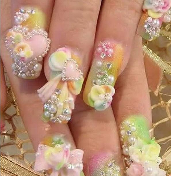 fingernail humor art flower pastel 3d