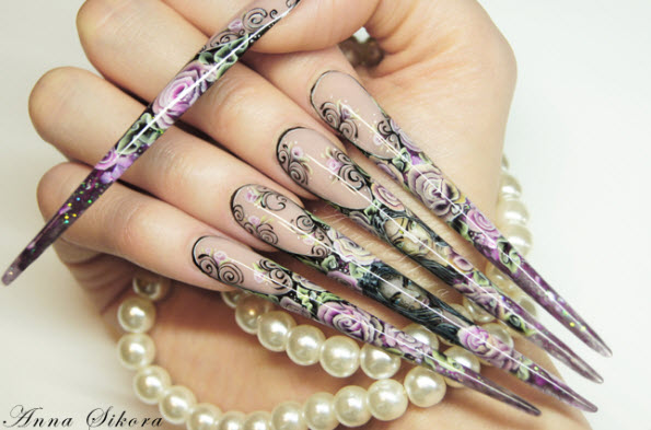 fingernail humor art pointed floral weapon pearls