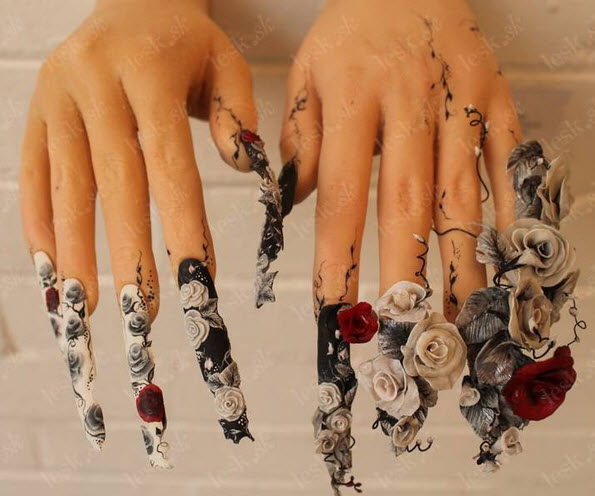 fingernail humor art pointed floral weapon
