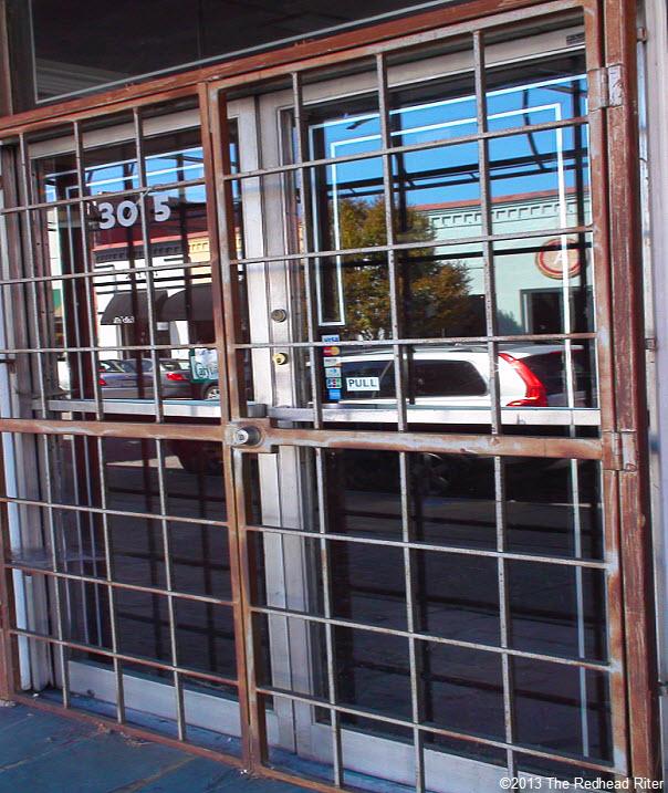 locked protective metal doors
