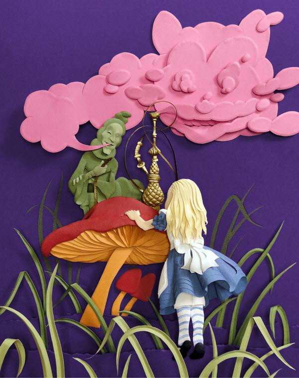 Cheong-ah Hwang's Paper Art Sculptures alice wonderland