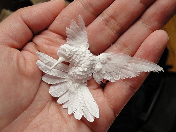 Cheong-ah Hwang's Paper Art Sculptures hummer