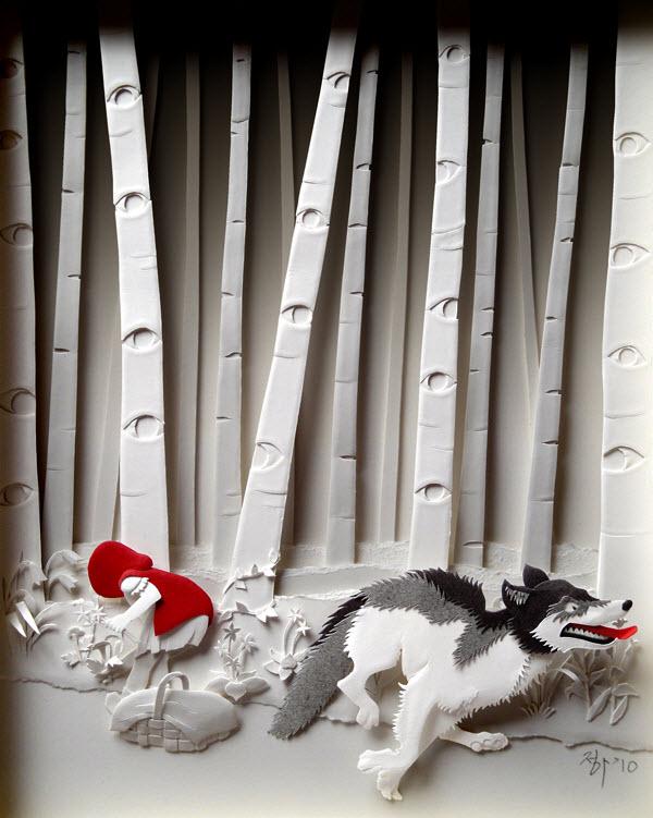 Cheong-ah Hwang's Paper Art Sculptures red riding hood