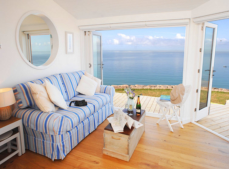 beach house living room ocean view The Edge Whitsand Bay, Cornwall