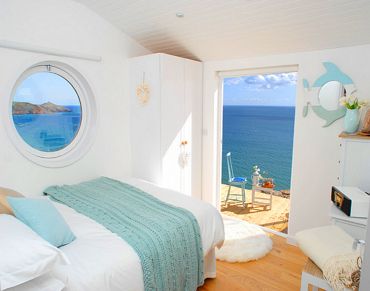 bedroom beach house ocean The Edge Whitsand Bay, Cornwall