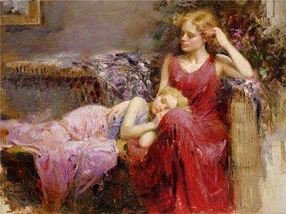 Pino Daeni romantic soft woman A mother's Love