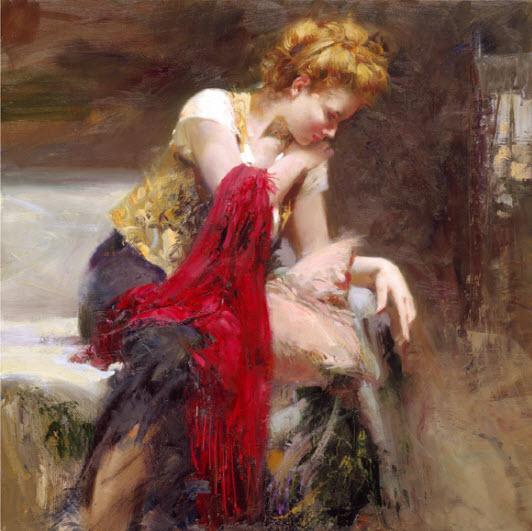 Pino Daeni romantic soft woman Anticipation