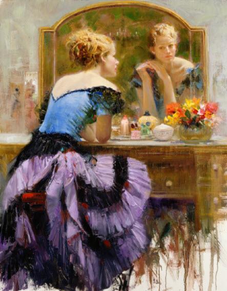 Pino Daeni romantic soft woman By the Mirror