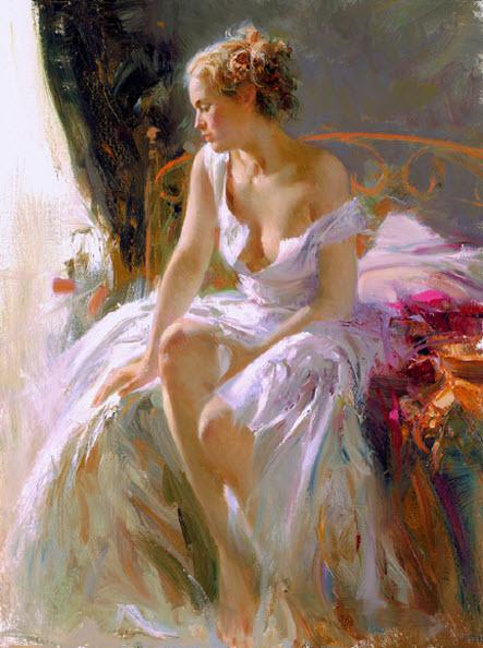 Pino Daeni romantic soft woman Morning breeze