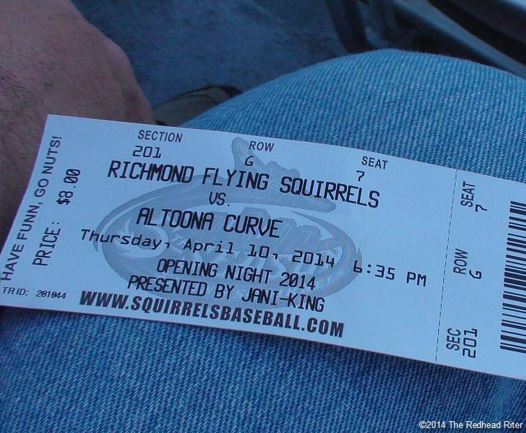 1 flying squirrels opening night baseball ticket