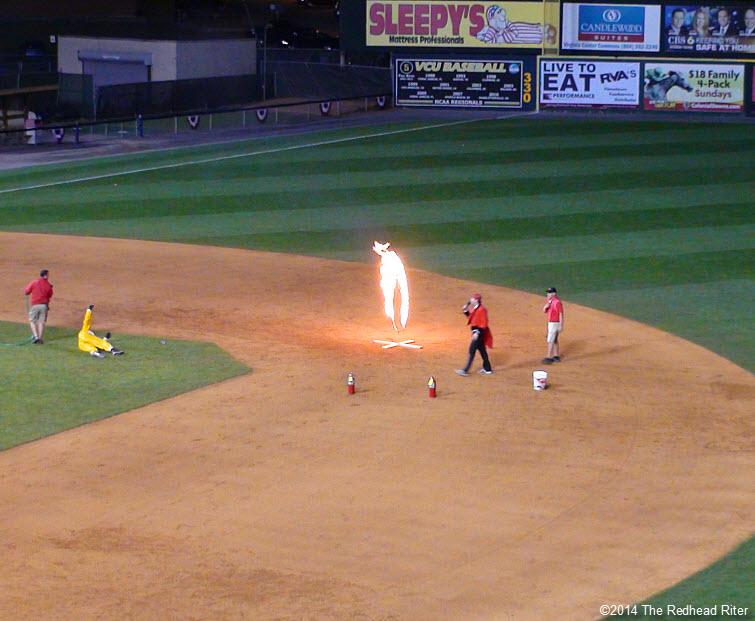 14  flying squirrels opening night fire burning hoop