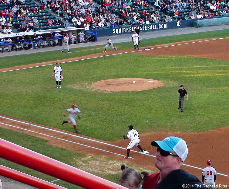 7 flying squirrels opening night running to first base