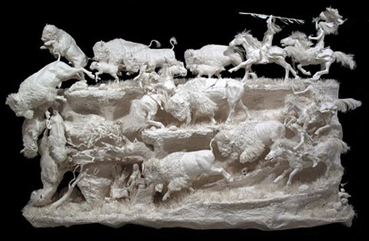 Paper Artists Eckman Cool Cast Paper Art Sculptures Prairie Edge Hunt 55,000