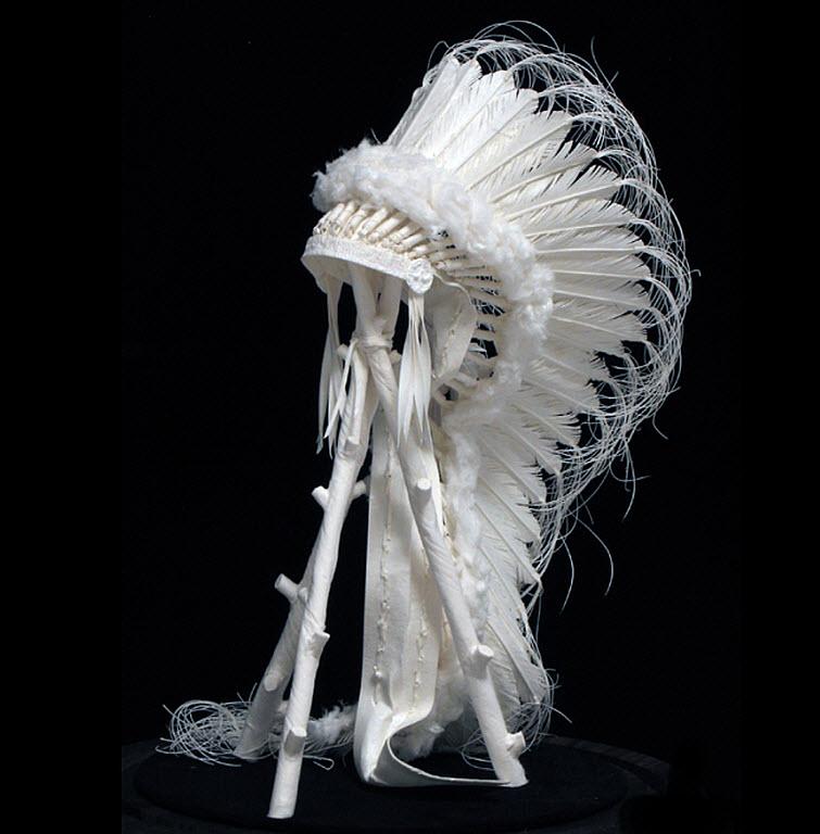 Paper Artists Eckman Cool Cast Paper Art Sculptures War-Bonnet-Display