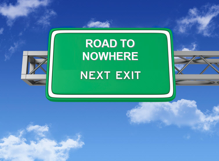 ROAD TO NOWHERE INTERSTATE SIGN