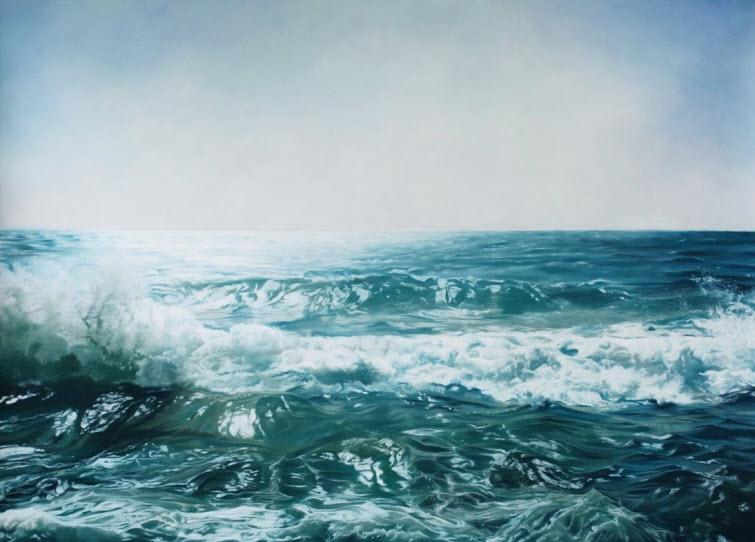 Zaria Forman Israel #3 water waves splash soft pastel on paper