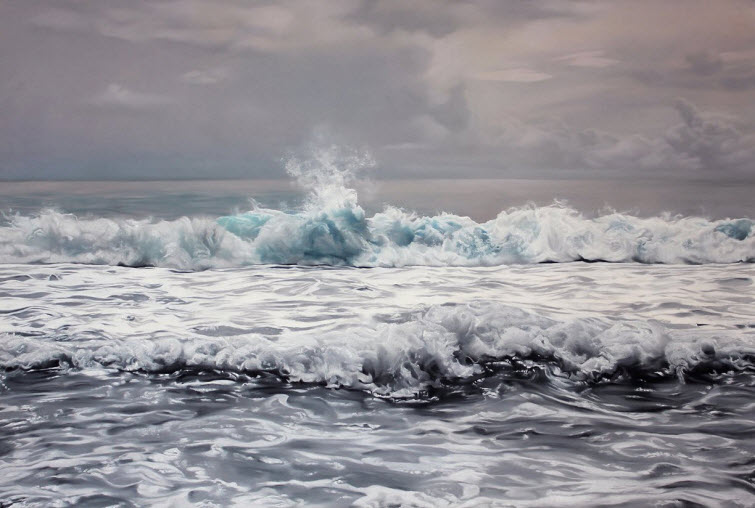 Zaria Forman Maldives #2 water  waves splash soft pastel on paper