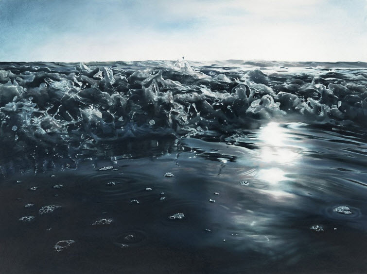 Zaria Forman Nosara #1 water splash soft pastel on paper