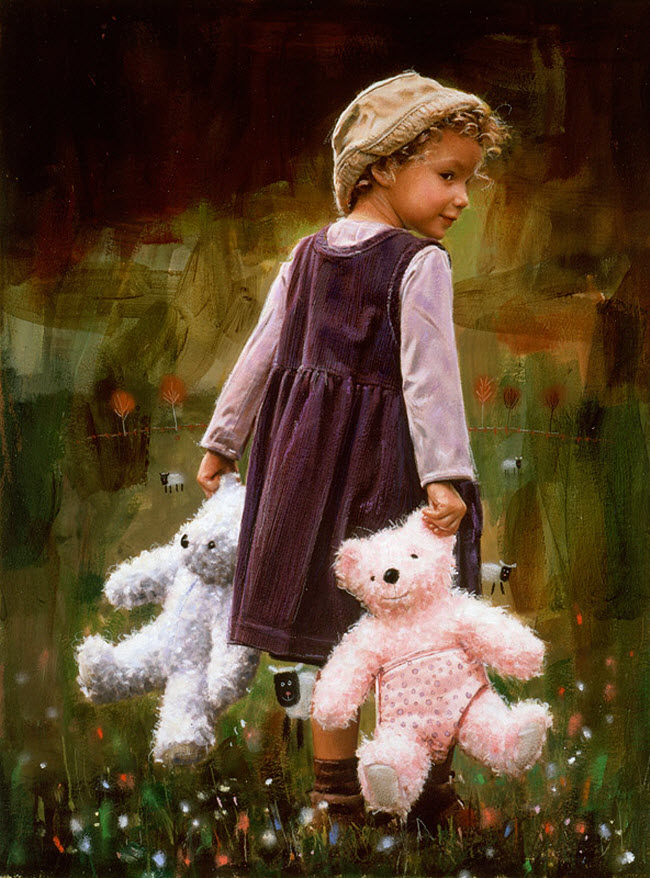 Artist Ron Hefferans Photorealistic Glamorous Oil Paintings child teddy bears