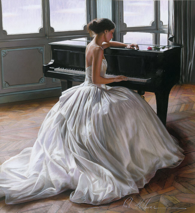 Artist Ron Hefferans Photorealistic Glamorous Oil Paintings wedding dress back