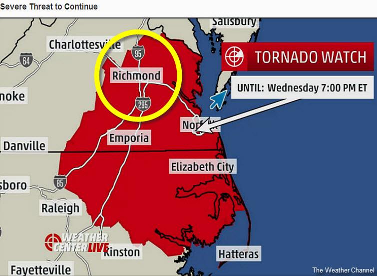 east coast virginia tornado watch