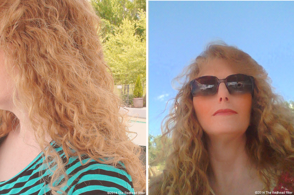 sherry the redhead riter at  swimming pool wind blown hair