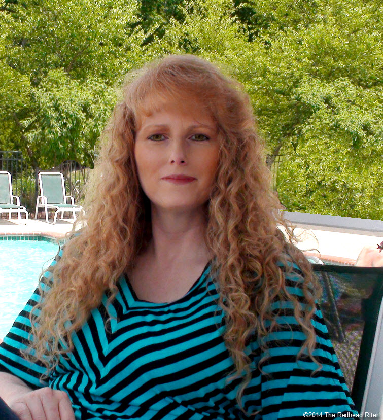 sherry the redhead riter at  swimming pool