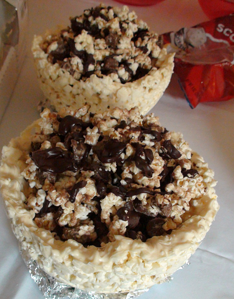 Edible Chocolate Covered Popcorn Bowl With Chocolate Candy Covered Popcorn Filling14