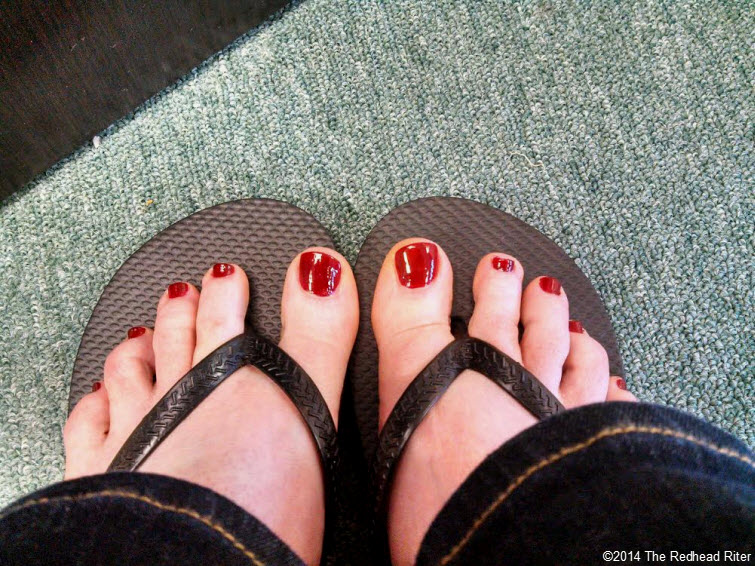 redhead sherry riter red painted toenails