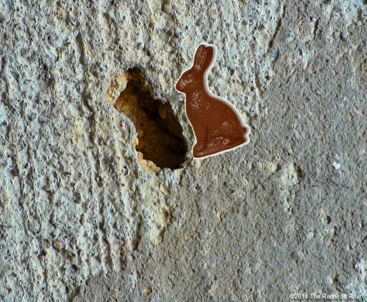 perspective in concrete chocolate bunny